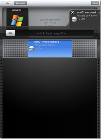 iPad vSphere Client VM vMotion slide to start