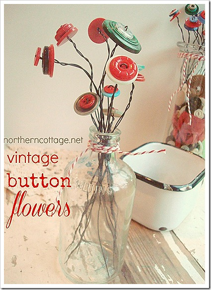 northern cottage vintage button flowers