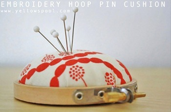 embroidery hoop pin cushion tutorial by yellow spool