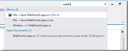 Quick Lanuch search in visual studio- What's new in visual studio 2012