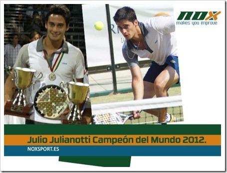 El jugador brasileño Julio Julianotti del TEAM NOX campeón del Mundo Open de Pádel 2012.