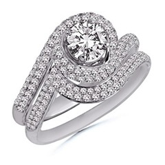 Round Diamond Twisted Wedding Ring Set in 14k White Gold
