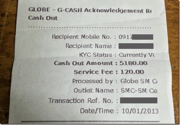 Globe GCash cash out