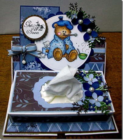 Get Well Soon Sick Little Bear Easel Tissue Box Card1