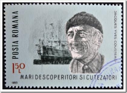 13322964-roumanie--circa-1985-timbre-imprime-en-roumanie-spectacle-jacques-yves-cousteau-navire-de-recherche-