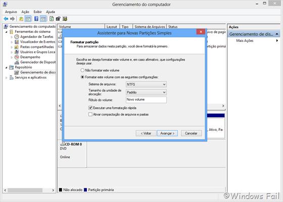 Defina as configurações de formatação da partição e clique em Avançar