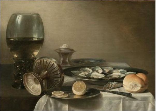 Nature morte au verre de vin et huîtres 1630