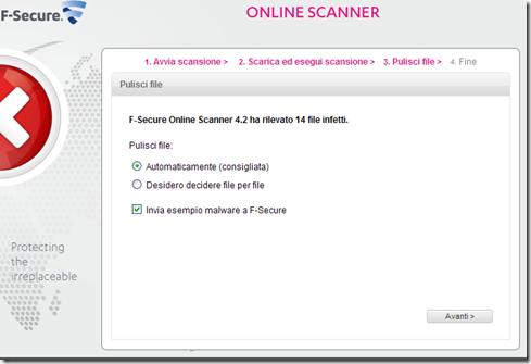 F-Secure Online Scanner Pulisci file