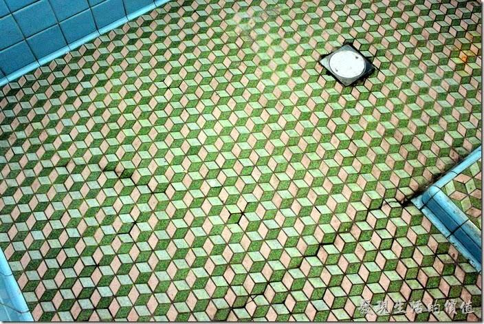 台南安平-運河路7號-創意市集 民宿。其實我是因為急著想上廁所才被熱情的店家拉進門的,因為這群年輕人真的很熱心,一面招呼我們進去參觀,一面幫我們介紹房子。這個一樓浴室的地磚有好立體的圖案喔,這個似乎是使用磁磚一塊一個立體面拼貼上去的,也就是說一個立體就用了三塊小磁磚。