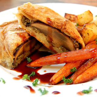 Portobello Wellington with Shiitake Duxelle, Vanilla Glazed Baby Carrots and Roasted Red Potatoes