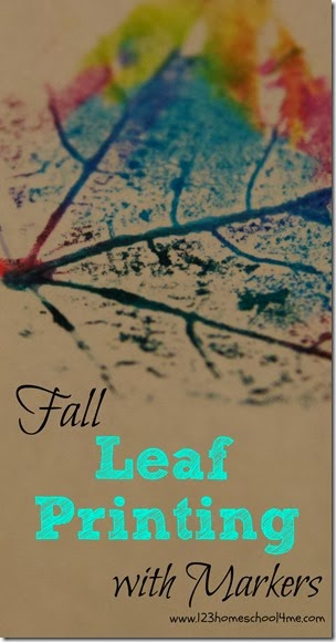 Fall Leaf Printing with Markers from 123 Homeschool 4 Me