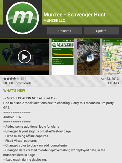 Munzee version 1.32 for Android