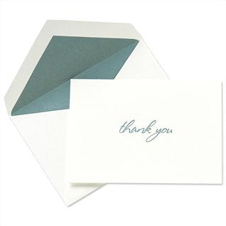 This Engraved Peacock Blue thank-you card has a clean and refined style.