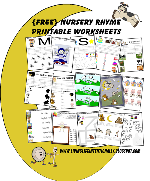 Preschool Worksheets - Nursery Rhymes