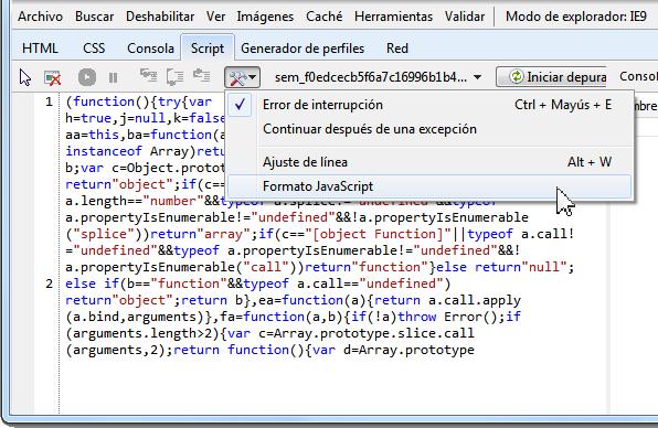 Dar formato al javascript