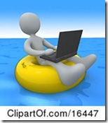 16447-White-Person-A-Workaholic-Floating-On-A-Yellow-Inner-Tube-In-The-Ocean-While-Typing-On-A-Laptop-Computer-Clipart-Illustration-Graphic