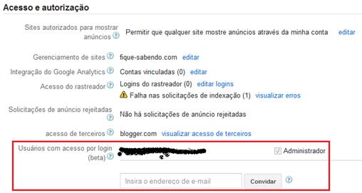 Acesso e autorização - Google Adsense