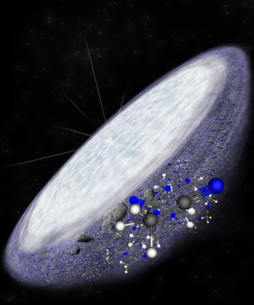 ilustração do disco protoplanetário que rodeia a jovem estrela MWC 480