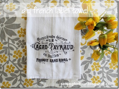 DIY French Label Tea Towel from Setting for Four #diy #tutorial #french #label #towel #graphic