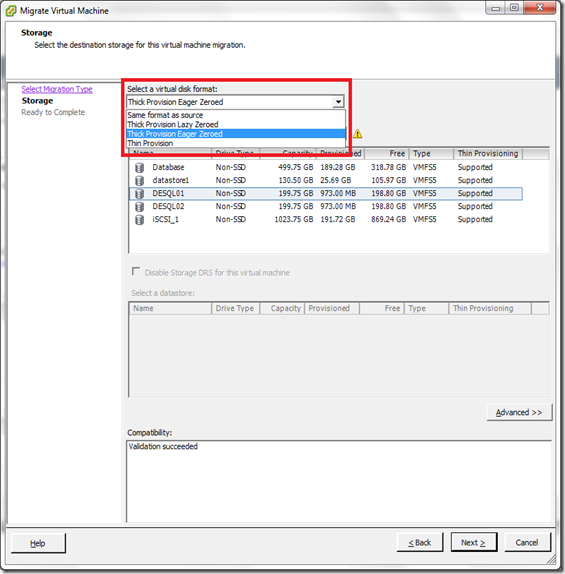 Select a virtual disk format