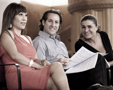 Sumi Jo (left), John Osborn (center), and Cecilia Bartoli (right) duing recording sessions for Bellini's NORMA [Photo courtesy of DECCA Classics; photographer uncredited]