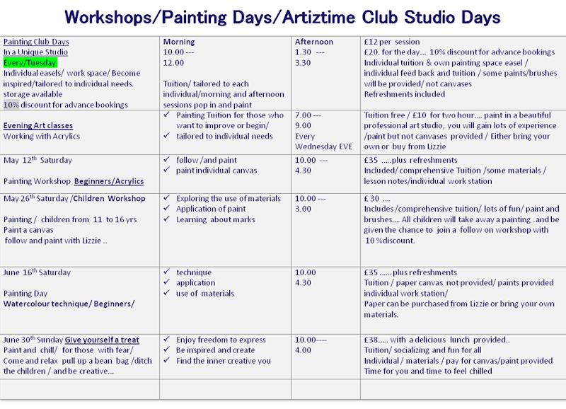 Workshops-Painting Days-Artiztime Club Studio Days