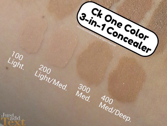 Ck ONE Color 3-in-1 Concealer; Review & Swatches of Shades 100 Light, 200 Light Medium, 300 Medium, 400 Medium Deep