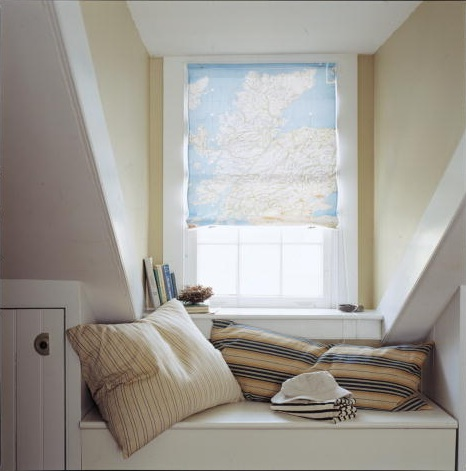 You can easily turn a map into a window shade. (Martha Stewart Living, August 2002)