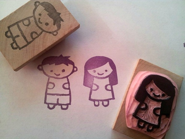 little boy and girl stamps