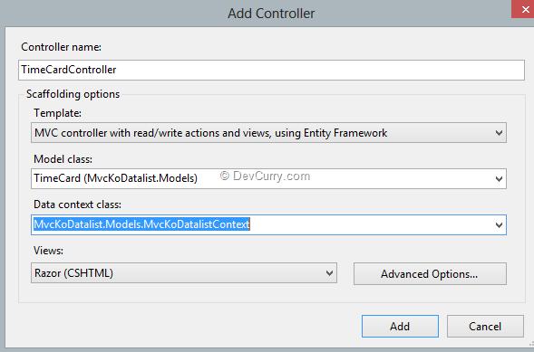DataList in ASP.NET MVC & KnockoutJS