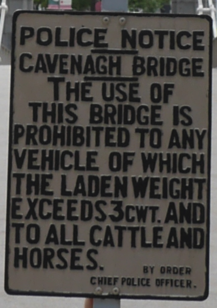 The instructions on Cavenagh Bridge