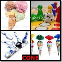 CONE- 4 Pics 1 Word Answers 3 Letters