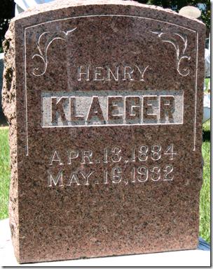 Grave marker of Henry Klaeger, 1884-1932