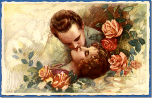 vintage-valentines-day-card-couple-kissing-among-pink-and-red-roses