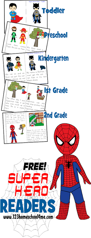 Super Hero Reader Books - free dolch sight word books for kids from toddler - 2nd grade