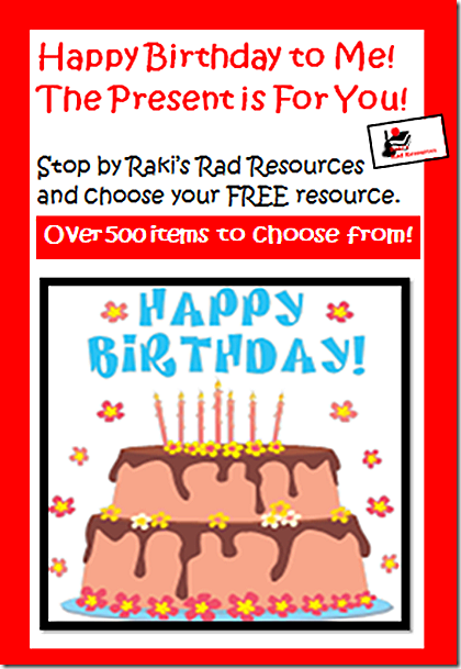 Birthday giveaway at Raki's Rad Resources