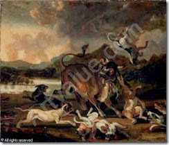 hondius-abraham-danielsz-1625-hounds-attacking-a-bull-in-a-r-1625699