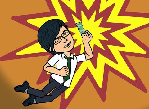 節約できたと喜ぶBitstrips自画像