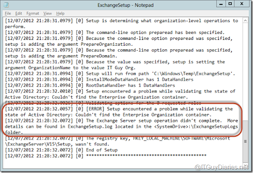 A problem while validating the state of active directory