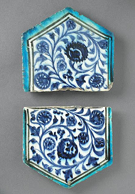 Two Tiles | Origin: Syria | Period:  15th century | Collection: The Madina Collection of Islamic Art, gift of Camilla Chandler Frost (M.2002.1.205a-b) | Type: Ceramic; Architectural element, Fritware, underglaze-painted, a) 5 7/8 x 6 in. (14.92 x 15.24 cm); b) 6 3/8 x 6 1/2 in. (16.19 x 16.51 cm)