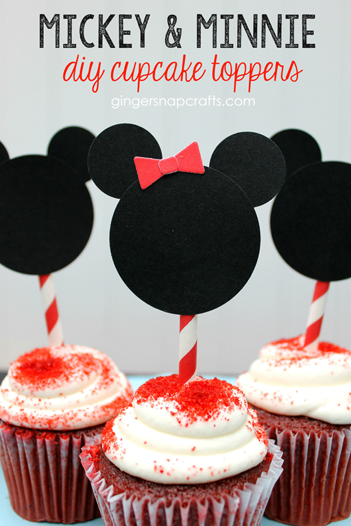 Mickey & Minnie DIY Cupcake Toppers at GingerSnapCrafts.com #monthofDisney