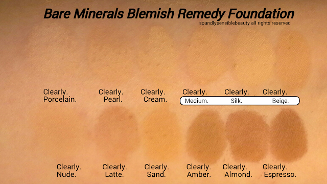 BE/Bare/Escentuals/Bare Minerals Blemish Remedy Foundation; Review & Swatches of Shades
