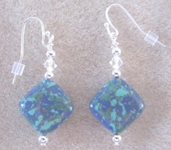 Cape blue green triangle earrings
