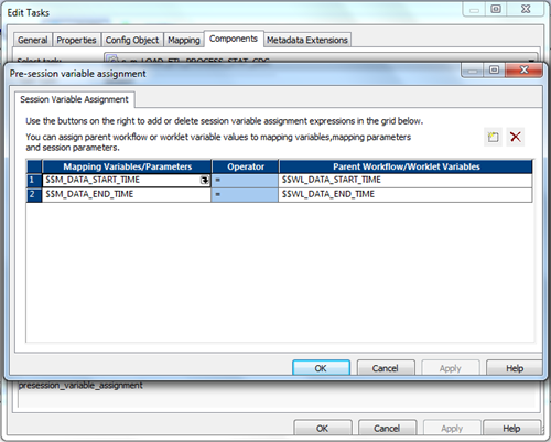 Informatica worklet variable assignment