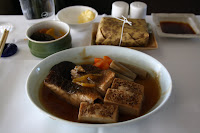 Omozakana: Simmed  Black Rockfish with simmered An Sauce, grilled Tofu and steamed Tawara Rice