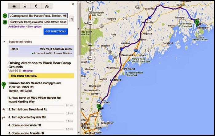 00b - Travel Map - Narrows Too CG, Trenton Maine to Black Bear CG, Salisbury, Mass