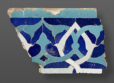 Section of a Tile Frieze, from ljeits Mausoleum The Legacy of Genghis Khan: Courtly Art and Culture in Western Asia, 1256-1353 | Origin: Iran, Sultaniyya | Period:  1307-1313 | Collection: The Madina Collection of Islamic Art, gift of Camilla Chandler Frost (M.2002.1.344) | Type: Ceramic; Architectural element, Earthenware, glazed, cut and assembled as a mosaic, 7 1/8 x 10 7/8 in. (18.1 x 27.6 cm)