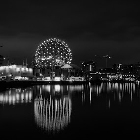Vancouver's Telus World of Science At Dawn by Daniel Gorman - Black & White Buildings & Architecture ( pacific coast, canada, false creek, burrad inlet, world's fair, pacific, west coast, telus, vancouver, telus science world, 1986, canadian, telus world of science, science world, world of science, british columbia )