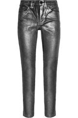 Karl Silver-sprayed mid-rise skinny jeans