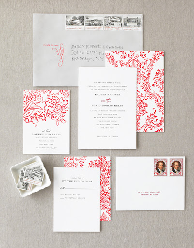 here is my stationery suite. I hand-painted a damask pattern that I then scanned and had letter-pressed. I also designed rubber stamps to use on the envelopes, and we chose vintage stamps for mailing.